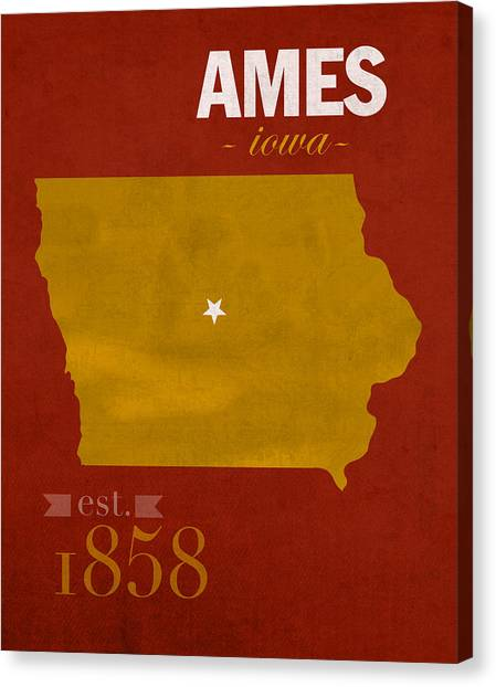 Cyclones Canvas Print - Iowa State University Cyclones Ames Iowa College Town State Map Poster Series No 050 by Design Turnpike