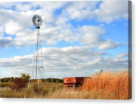 Iowa Windmill Canvas Print by Diane Lent