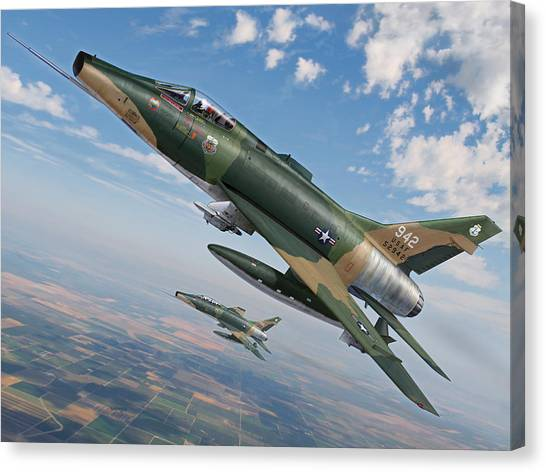 National Guard Canvas Print - Iowa's Bicentennial Warriors F-100 Super Sabres by Stu Shepherd