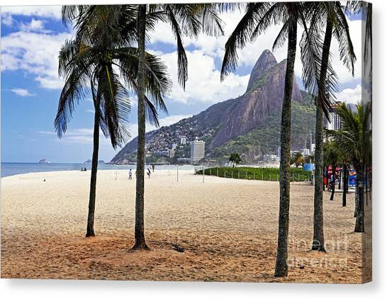 Ipanema Beach Palm Trees Canvas Print by George Oze