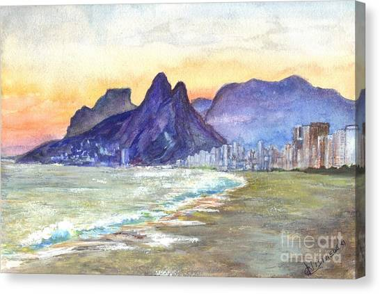 Sugarloaf Mountain And Ipanema Beach At Sunset Rio Dejaneiro  Brazil Canvas Print
