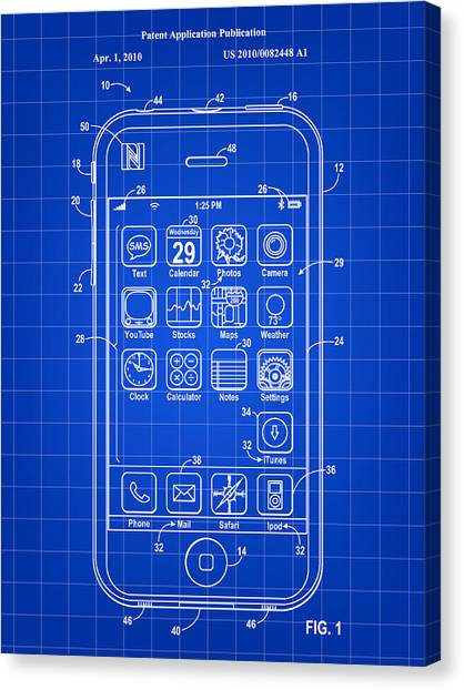 Steve Jobs Canvas Print - iPhone Patent - Blue by Stephen Younts