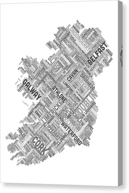 Ireland Canvas Print - Ireland Eire City Text Map by Michael Tompsett