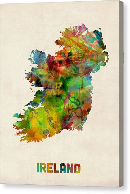 Ireland Canvas Print - Ireland Eire Watercolor Map by Michael Tompsett