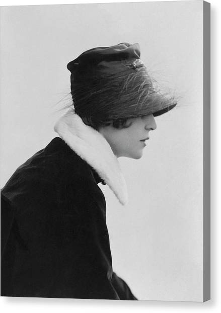 Irene Castle Wearing A Hat Canvas Print by Rita Martin