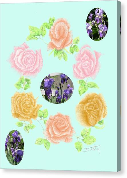 Iris Among Roses Canvas Print by Dusty Reed