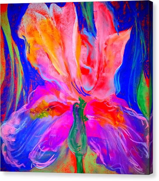 Funky Iris Flower Canvas Print