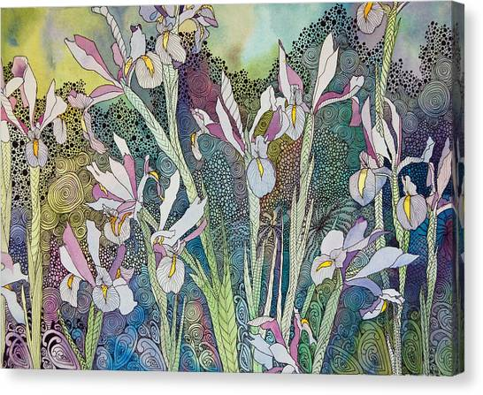 Irises And Doodles Canvas Print