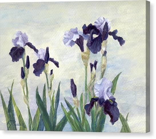 Irises Purple Flowers Painting Floral K. Joann Russell                                           Canvas Print