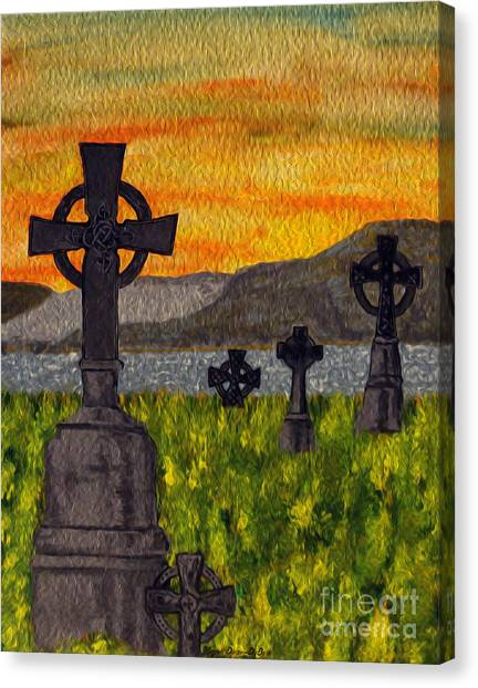 Irish Cemetery-painting Canvas Print