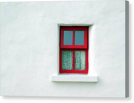 Red School House Canvas Print - Irish Cottage Red Window by Patrick Dinneen
