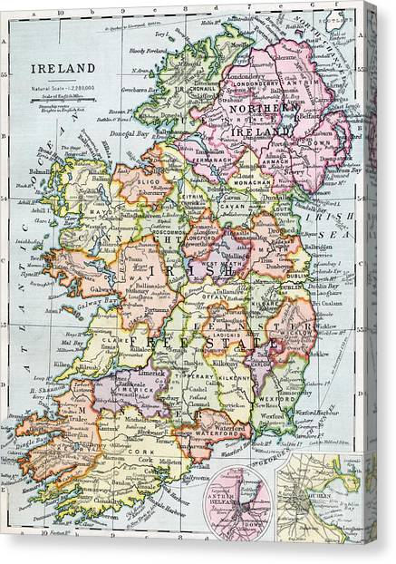 Grid Canvas Print - Irish Free State And Northern Ireland From Bacon S Excelsior Atlas Of The World by English School