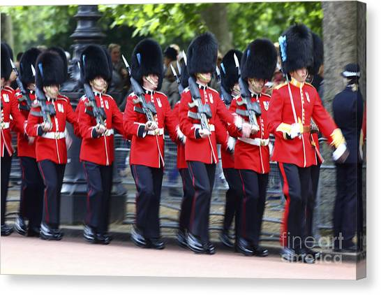 Royal Guard Canvas Print - Irish Guards On The March by James Brunker
