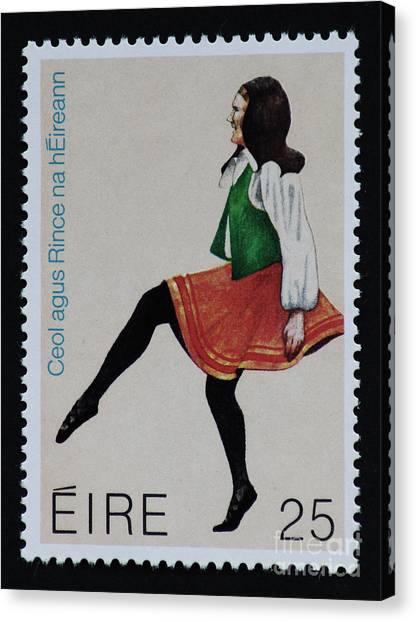 Irish Music And Dance Postage Stamp Print Canvas Print
