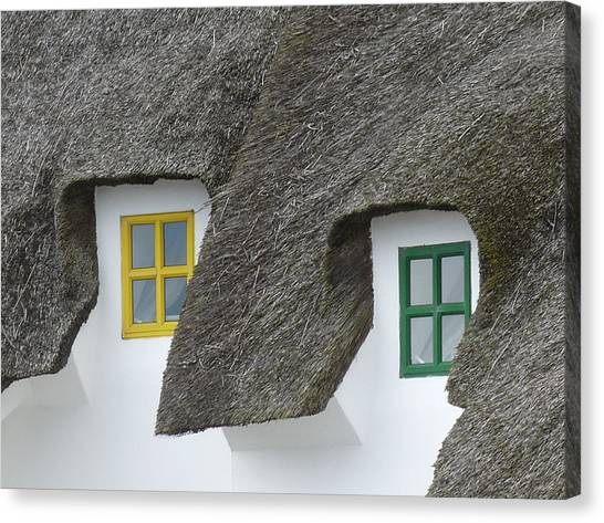 Irish Thatch Cottage Colored Windows Canvas Print by Patrick Dinneen