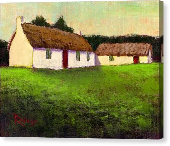 Irish Thatched Roof Cottages Canvas Print by Bernie Rosage Jr