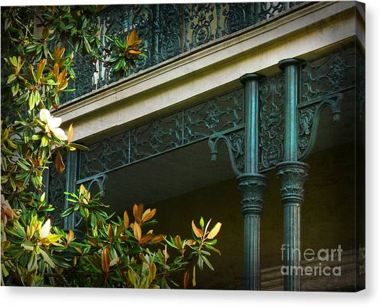 Iron Detail With Magnolia Tree Canvas Print