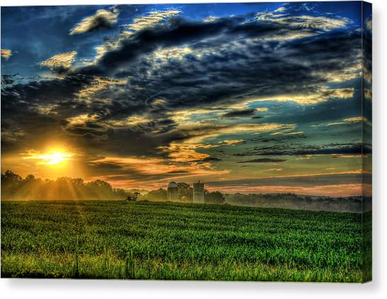 University Of Georgia Canvas Print - The Iron Horse Sunrise 4 Young Corn Silos Farm Art by Reid Callaway