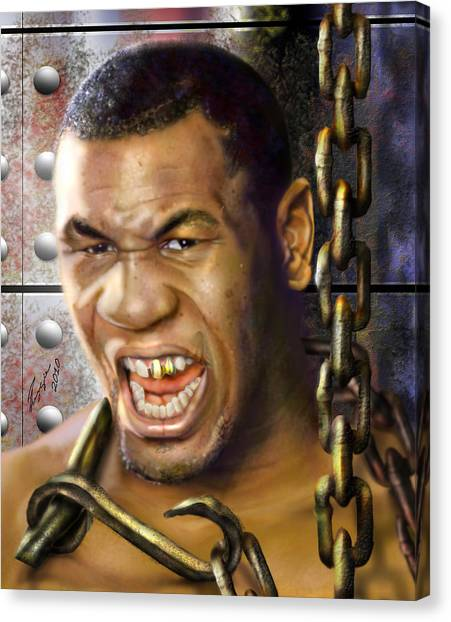 Mike Tyson Canvas Print - Iron Mike Tyson-no Blood No Glory 1a by Reggie Duffie