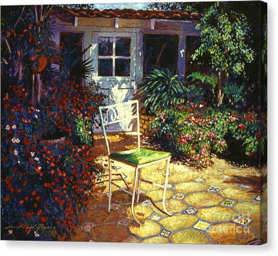 Pavers Canvas Print - Iron Patio Chair by David Lloyd Glover