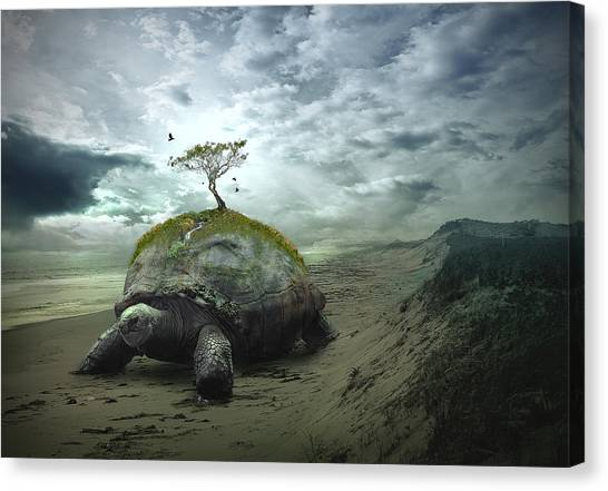 Tortoises Canvas Print - Iroquois Creation Story by Rick Mosher