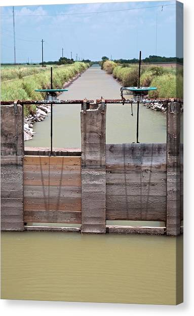 Ditch Canvas Print - Irrigation Canal by Jim West