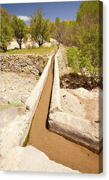 Moroccon Canvas Print - Irrigation Channel by Ashley Cooper