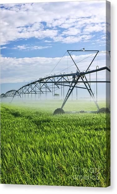 Saskatchewan Canvas Print - Irrigation Equipment On Farm Field by Elena Elisseeva