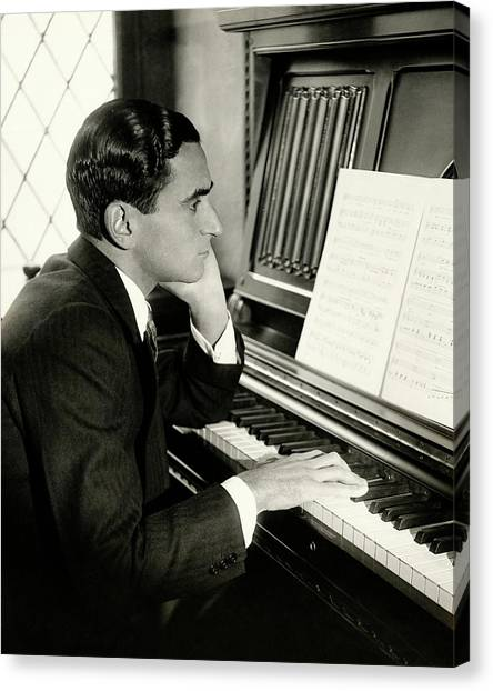 Irving Berlin At A Piano Canvas Print by Florence Vandamm