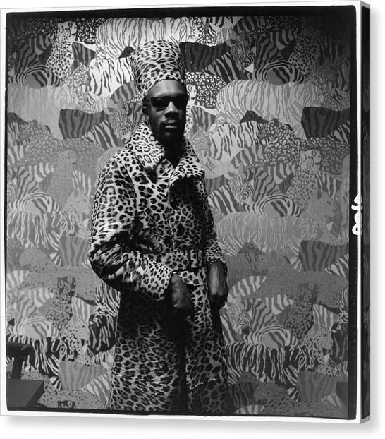 Isaac Hayes Wearing Leopard Print Canvas Print by Peter Hujar