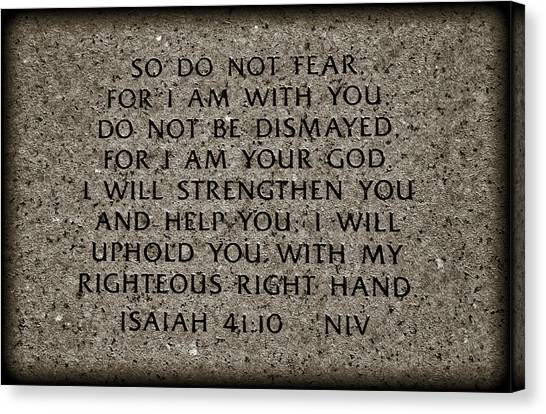 Bible Verses Canvas Print - Isaiah 41 10 by Ricky Barnard
