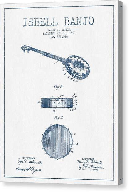 Banjos Canvas Print - Isbell Banjo Patent Drawing From 1897  - Blue Ink by Aged Pixel