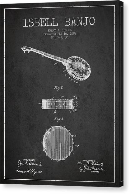 Banjos Canvas Print - Isbell Banjo Patent Drawing From 1897 - Dark by Aged Pixel