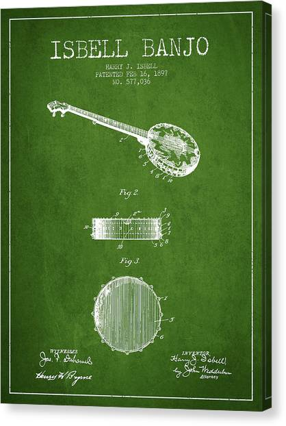 Banjos Canvas Print - Isbell Banjo Patent Drawing From 1897 - Green by Aged Pixel