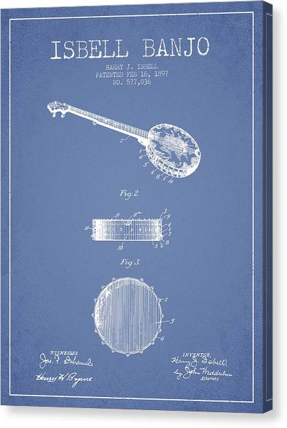 Banjos Canvas Print - Isbell Banjo Patent Drawing From 1897 - Light Blue by Aged Pixel