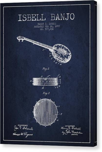 Banjos Canvas Print - Isbell Banjo Patent Drawing From 1897 - Navy Blue by Aged Pixel