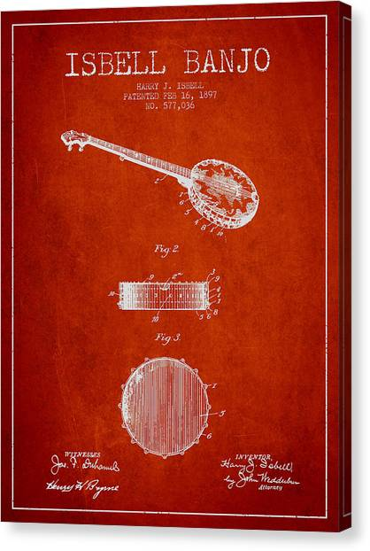 Banjos Canvas Print - Isbell Banjo Patent Drawing From 1897 - Red by Aged Pixel