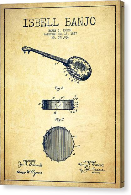 Banjos Canvas Print - Isbell Banjo Patent Drawing From 1897 - Vintage by Aged Pixel