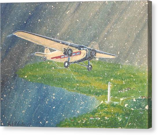 Island Airlines Ford Trimotor Over Put-in-bay In The Winter Canvas Print