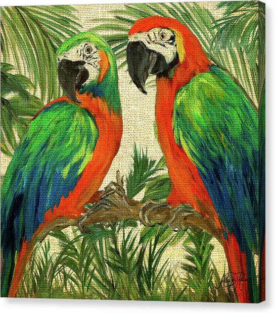 Macaws Canvas Print - Island Birds Square On Burlap I by Julie Derice