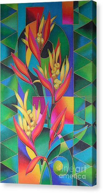 Island Flowers - Heliconia Canvas Print