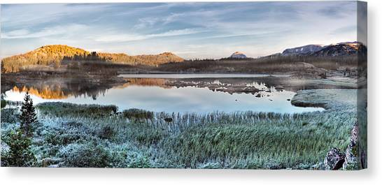 Island Lake Sunrise Canvas Print by Leland D Howard