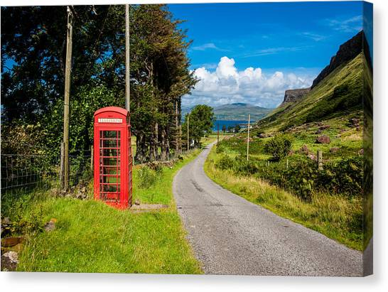 Red Phone Box Canvas Print   Traditonal British Telephone Box On The Isle  Of Mull By