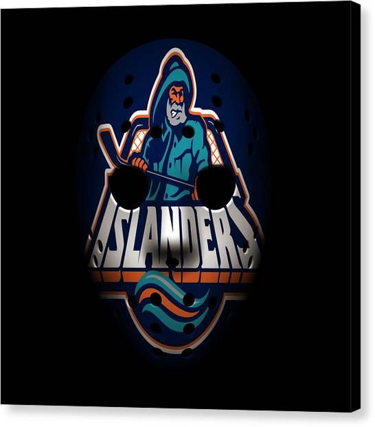 New York Islanders Canvas Print - Islanders Goalie Mask by Joe Hamilton
