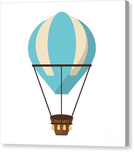 Basket Canvas Print - Isolated Hot Air Balloon Design by Jemastock
