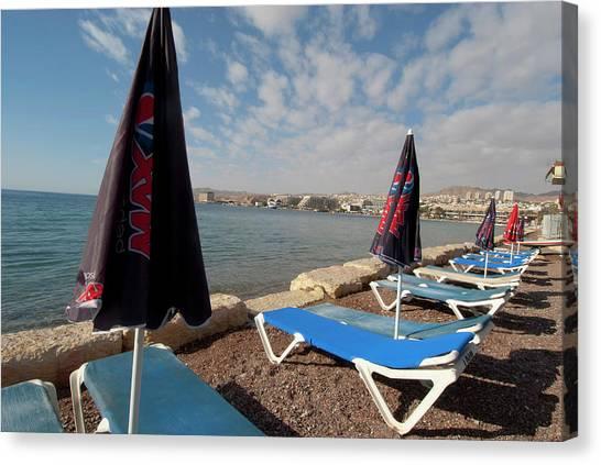 Negev Desert Canvas Print - Israel, Eilat, Beach Lounge Chairs by Ellen Clark