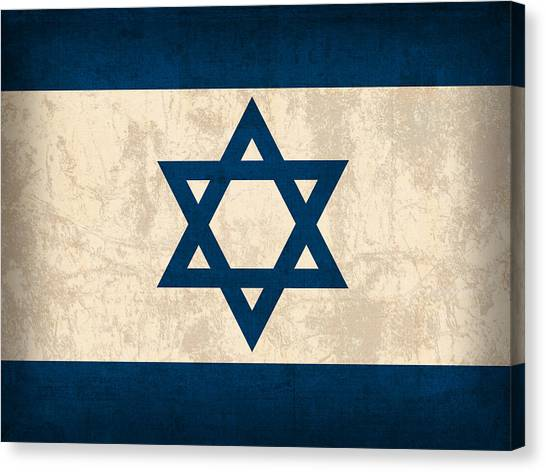 Flag Canvas Print - Israel Flag Vintage Distressed Finish by Design Turnpike