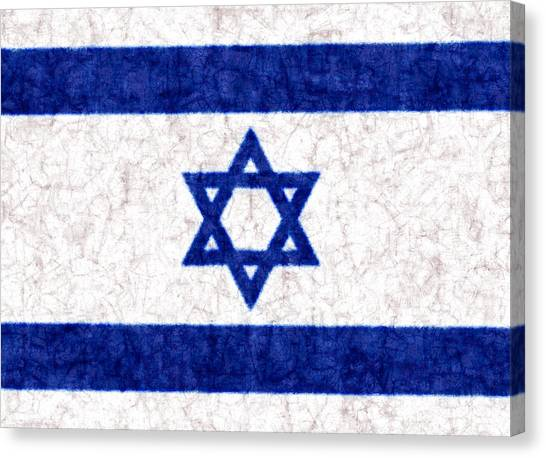 Israeli Canvas Print - Israel Star Of David Flag Batik by Kurt Van Wagner