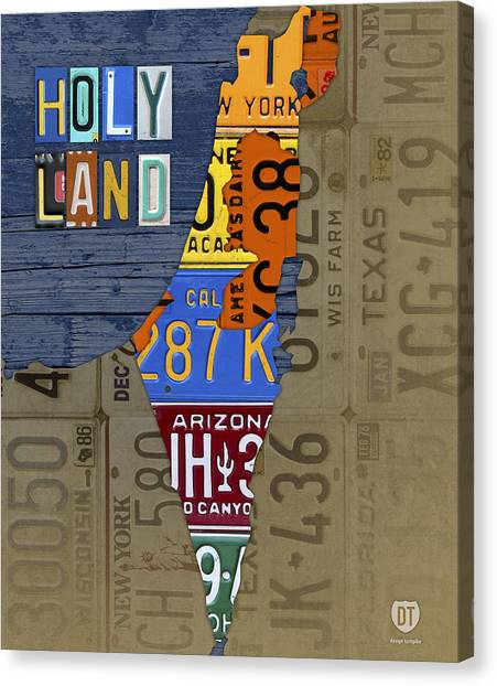 Israeli Canvas Print - Israel The Holy Land Map Made With Recycled Usa License Plates by Design Turnpike