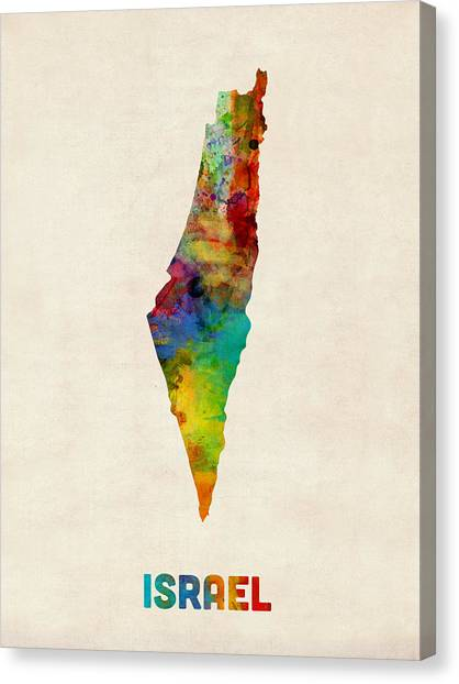 Israeli Canvas Print - Israel Watercolor Map by Michael Tompsett